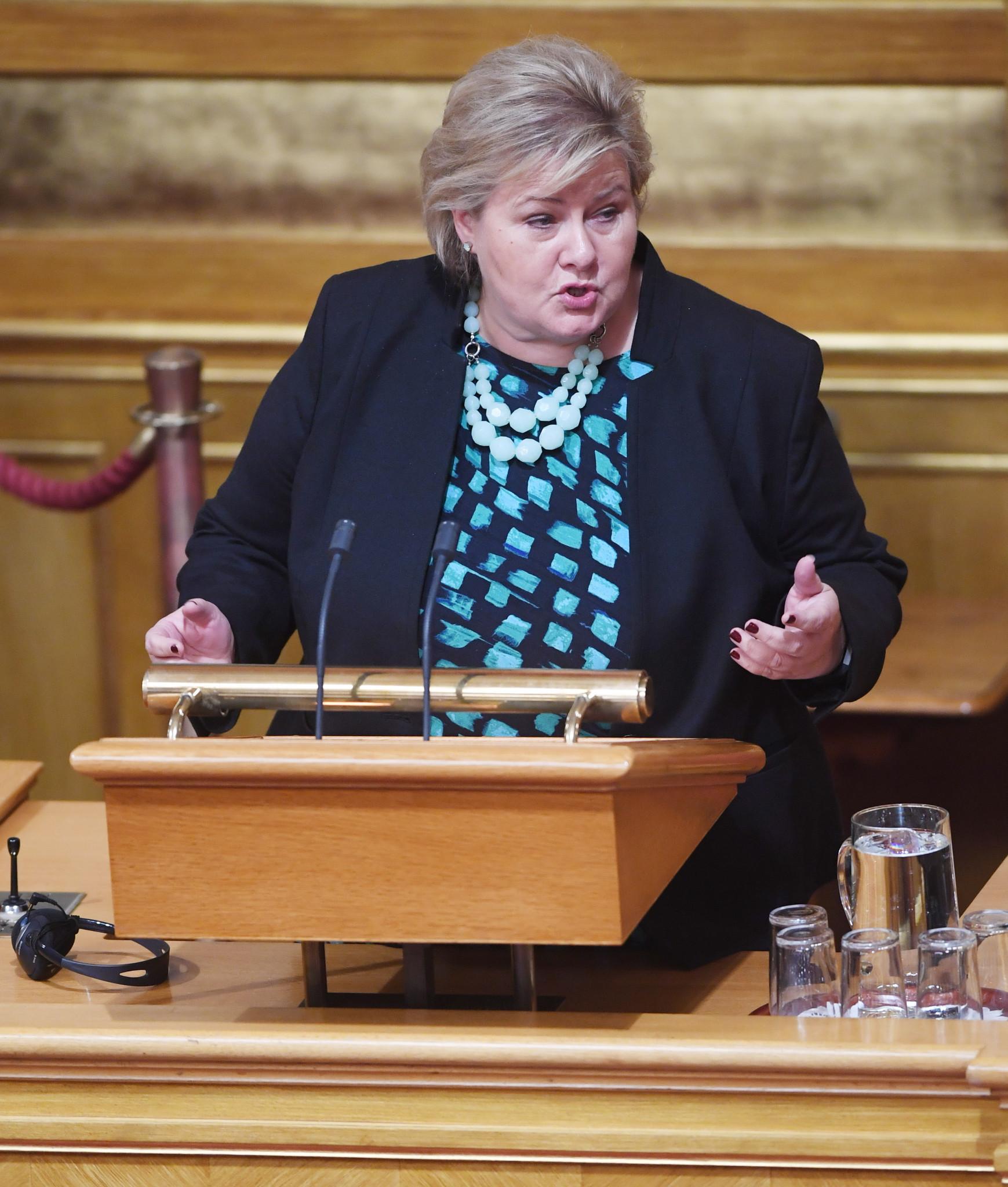 Norwegian Prime Minister Erna Solberg has given her full support to Linda Helleland's bid ©Getty Images