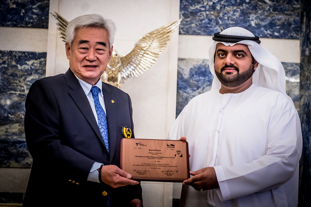 World Taekwondo President makes Fujairah Crown Prince honorary black belt
