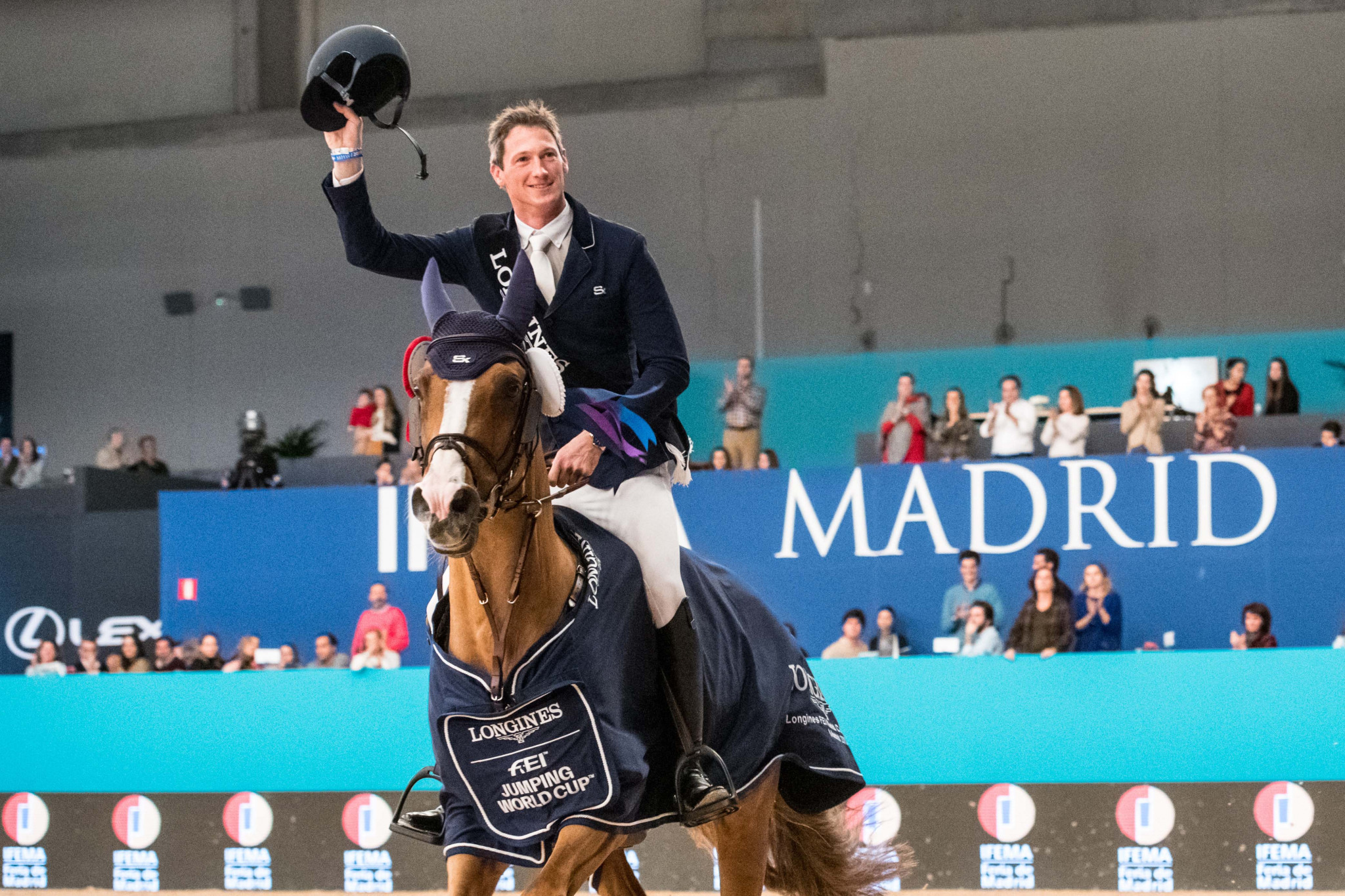 Germany's Daniel Deusser looks set for a place at the FEI Jumping World Cup Final after his second win of the series in Madrid ©FEI