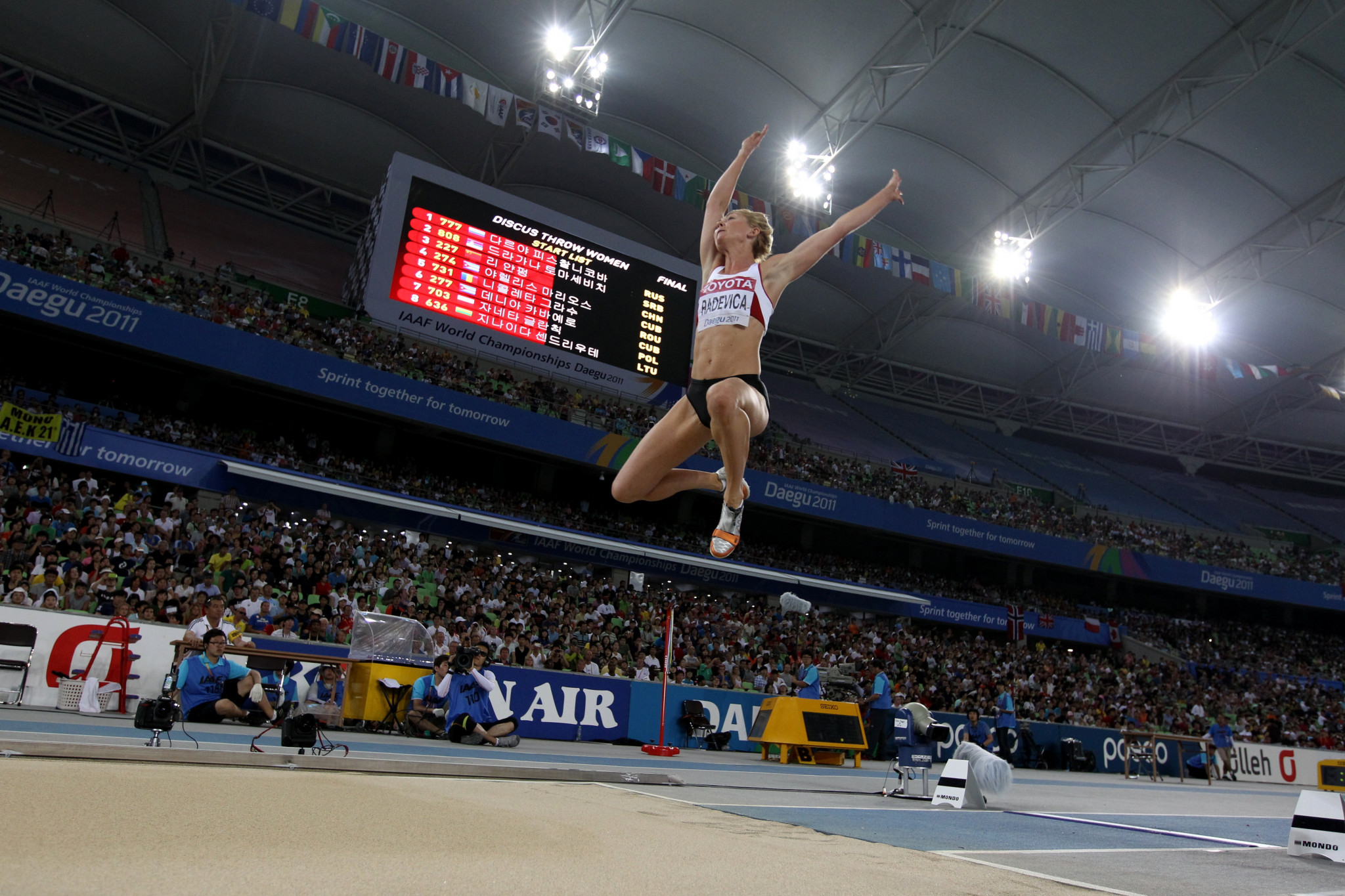 Ineta Radevica won bronze at the 2011 World Championships but was later upgraded to a silver medal ©Getty Images