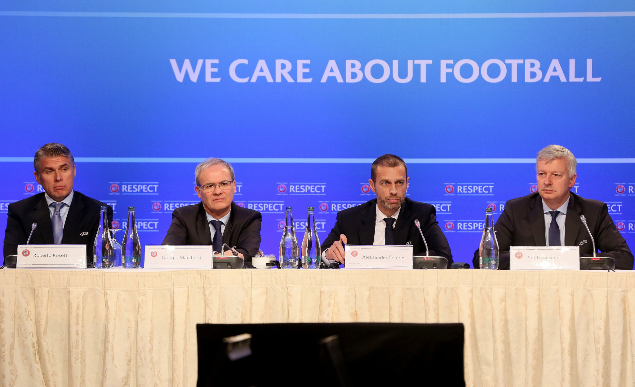 UEFA President Aleksander Čeferin, centre right, made his comments about the possible World Cup bid between Spain, Portugal and Morocco during a press conference in Dublin ©Getty Images