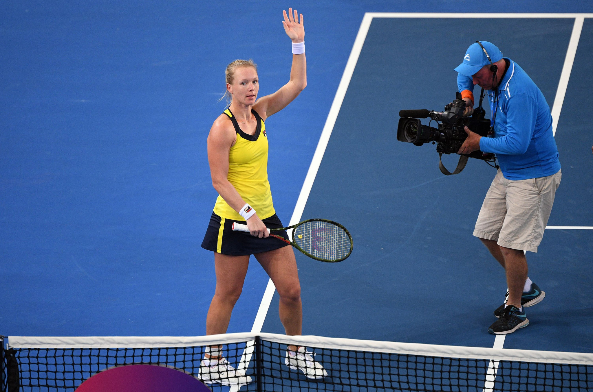 Kiki Bertens of The Netherlands celebrates beating Belgium's Elise Mertens in the first round of the Brisbane International ©Getty Images