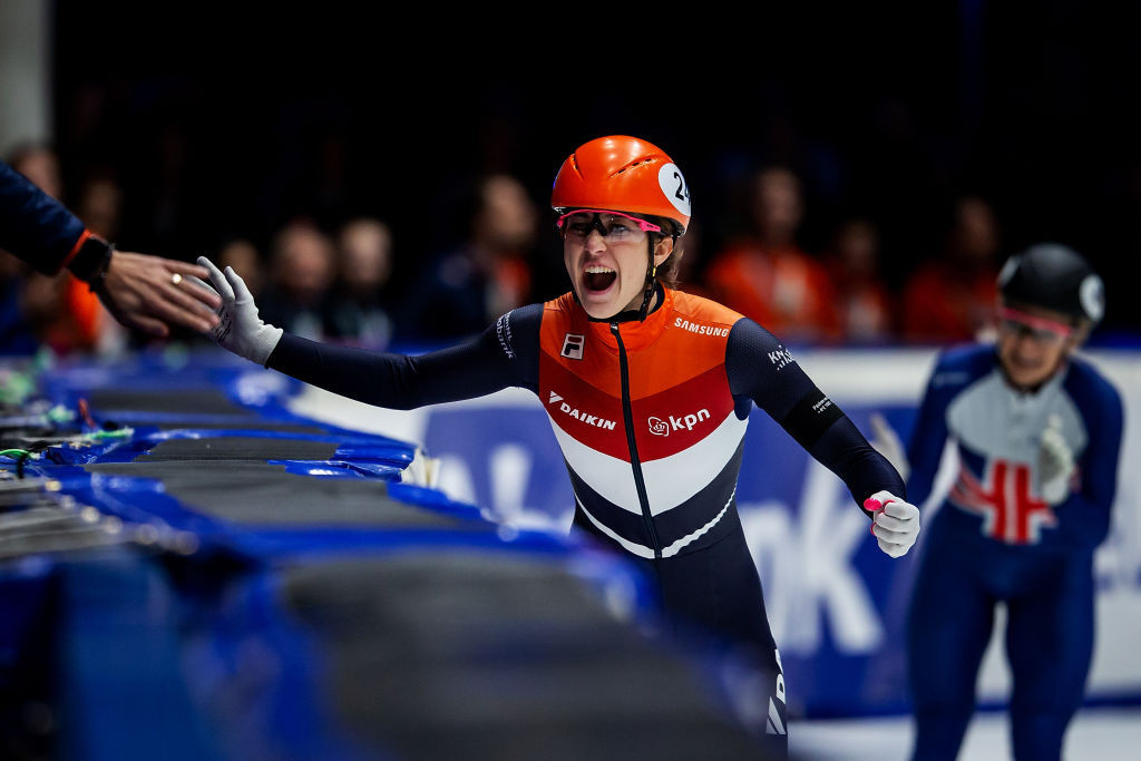 Suzanne Schulting of The Netherlands has become European champion at the ISU European Short Track Championships in Dordrecht ©ISU