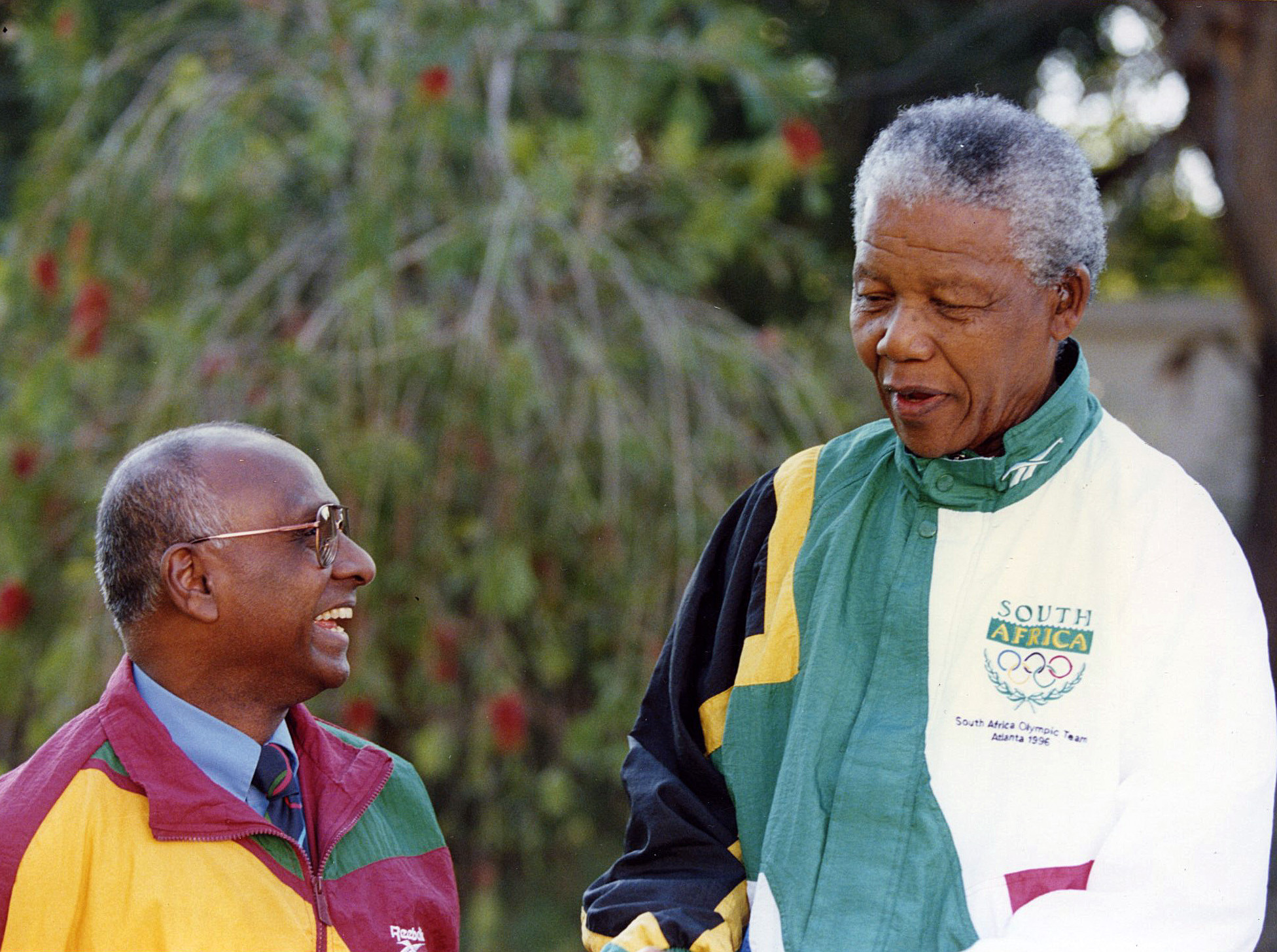Sam Ramsamy pictured with South Africa's leader Nelson Mandela, who referred to Ramsamy as his