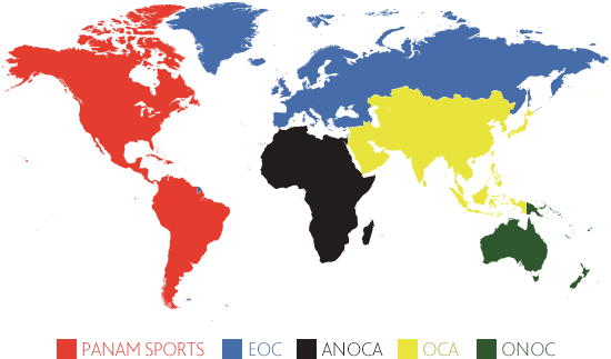 A map showing the five Continental Associations
