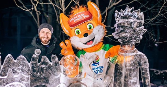 A two-metre ice sculpture of Lesik and the Minsk 2019 logo has been unveiled in the Belarusian capital ©lesik_2019