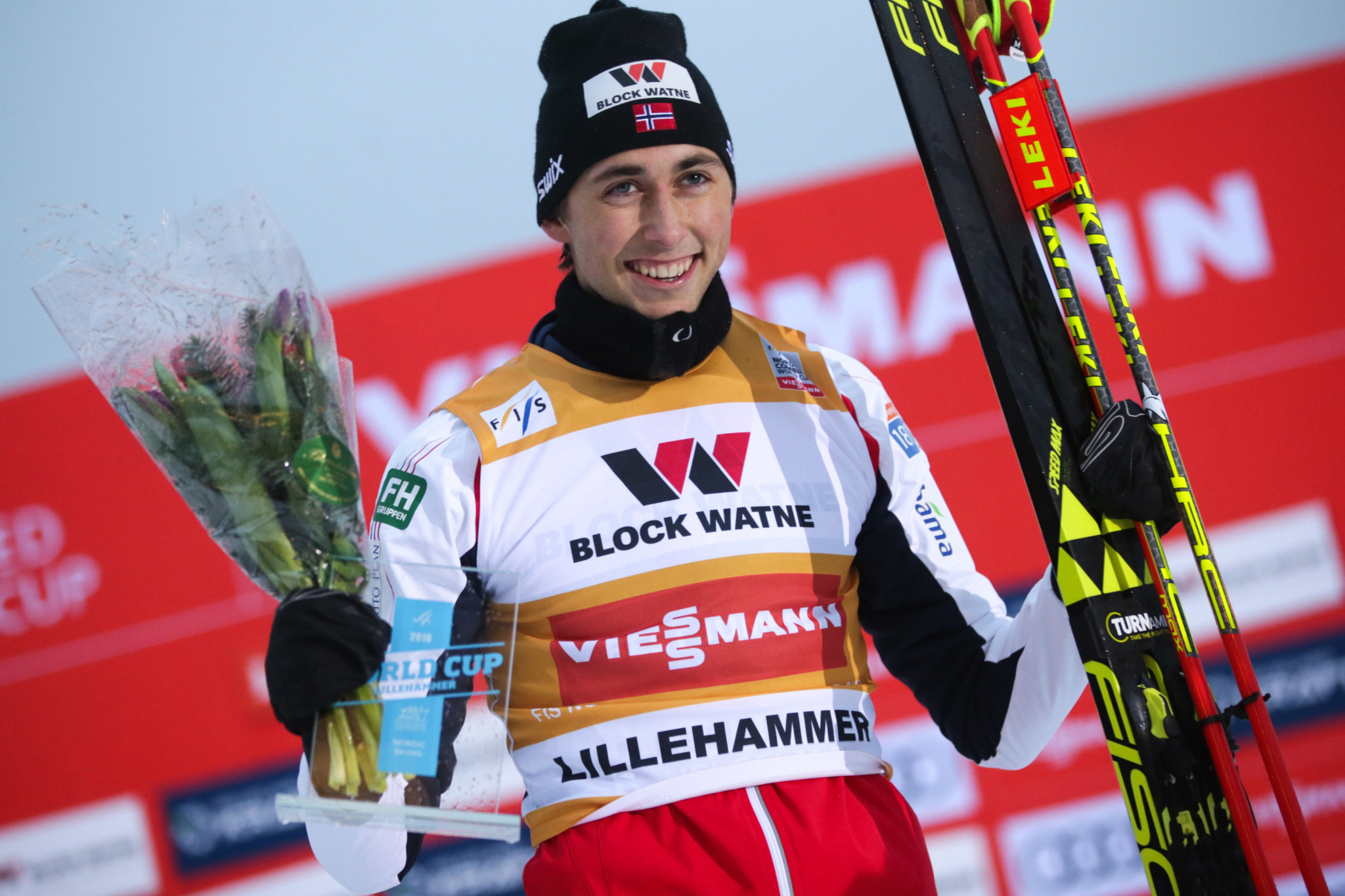 Jarl Magnus Riiber has won for the fourth time in a row on the FIS Nordic Combined World Cup Circuit ©Getty Images