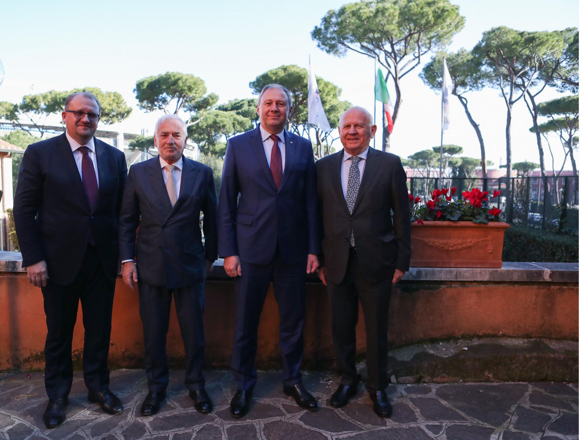 European Olympic Committees President Janez Kocijančič, right, met with Belarus Prime Minister Sergei Rumas, second right ©Minsk 2019