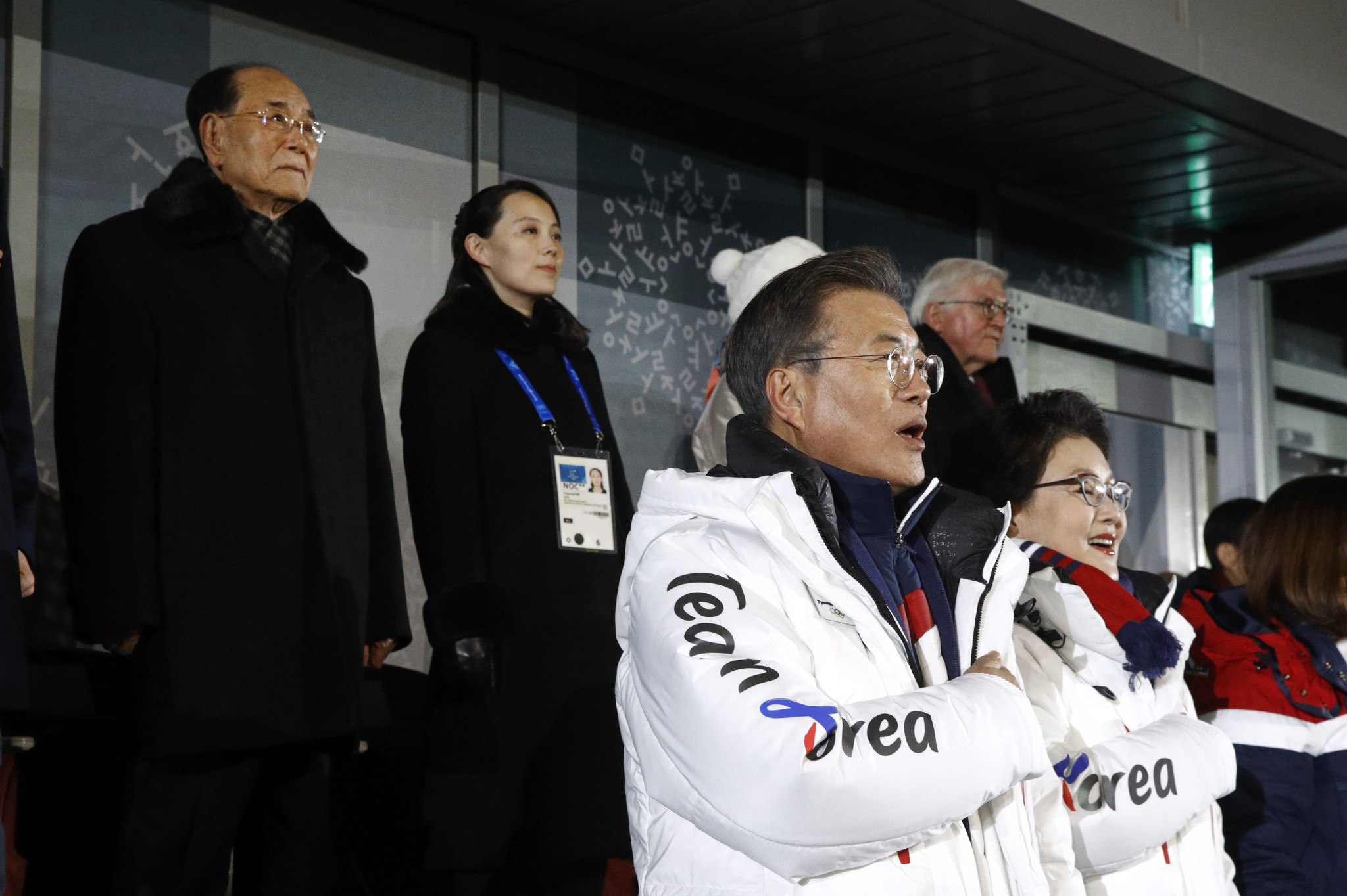 South Korean President Moon Jae-in at the Opening Ceremony of Pyeongchang 2018, standing in front of the delegation from North Korea ©Getty Images