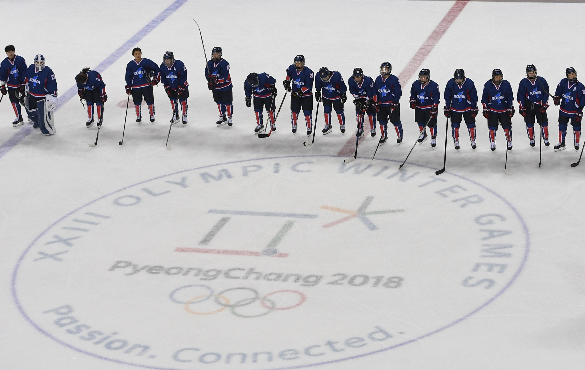 The united Korean women's ice hockey team that competed at Pyeongchang 2018 was a sign of the thawing of relations between the North and South, it has been claimed ©Getty Images