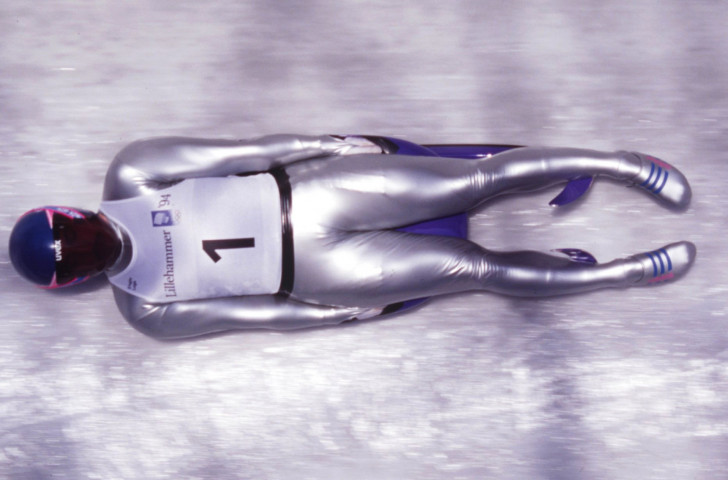 Germany's Georg Hackl successfully defends his Olympic luge title on February 14, 1994 at the Lillehammer Games. Do not, whatever you do, refer to him as the speeding white sausage ©Getty Images
