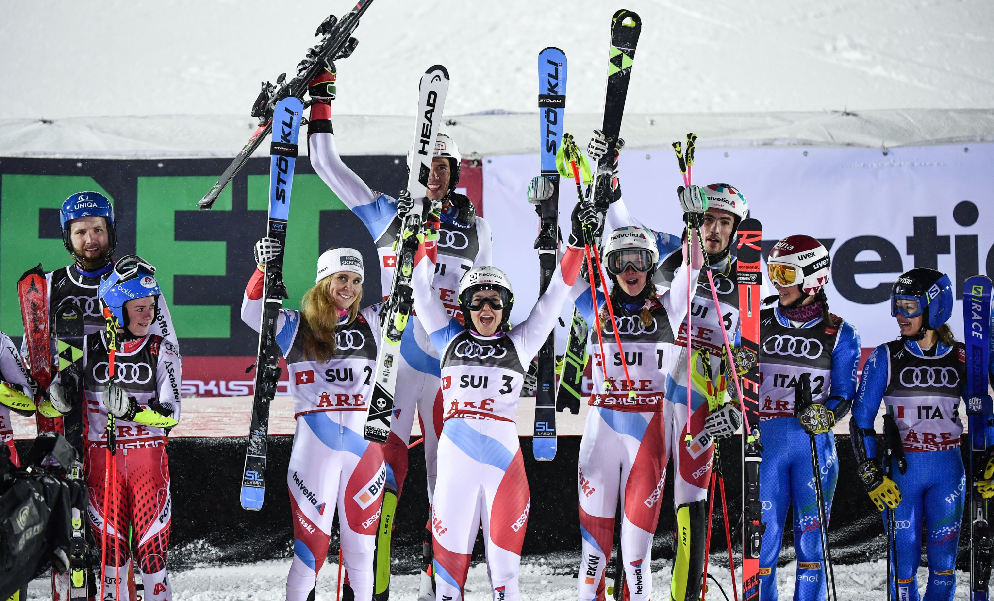 Switzerland won the mixed team event at the Alpine Skiing World Championships ©Getty Images