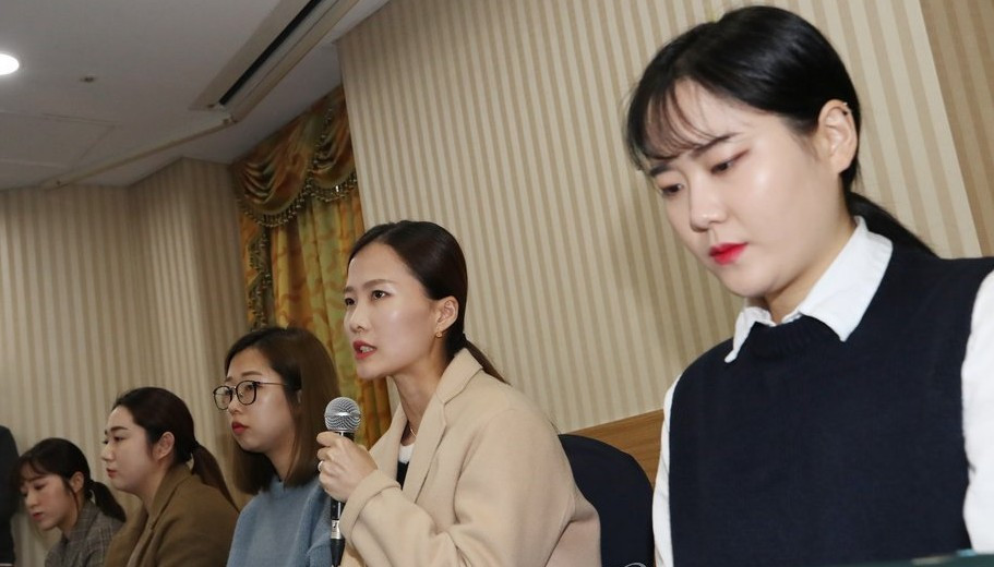 Members of the South Korean Pyeongchang 2018 silver medallist curling team made allegations of abuse - subsequently backed - at a Seoul press conference last November ©Getty Images
