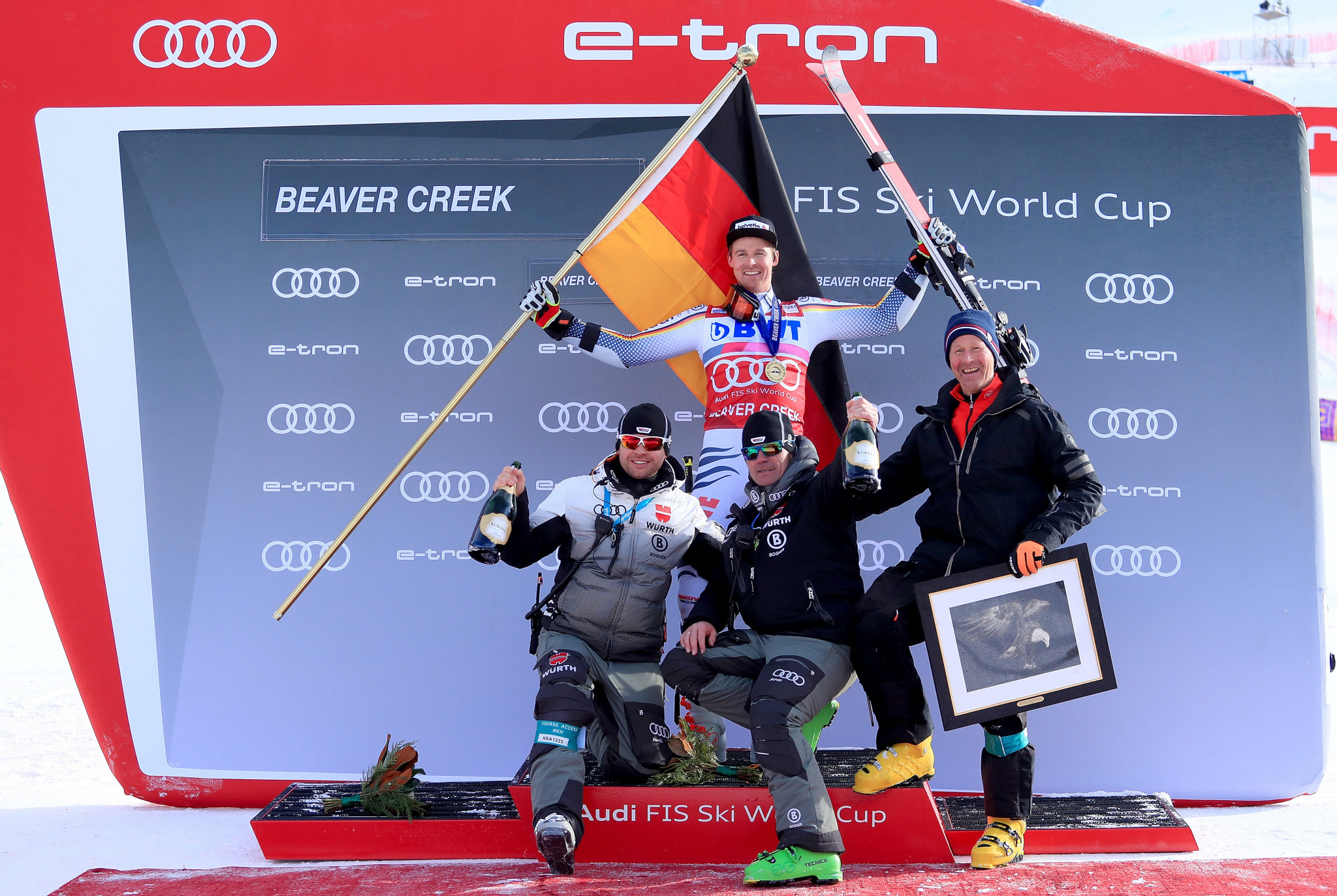 Stefan Luitz celebrates his victory in Beaver Creek which has now been restored ©Getty Images