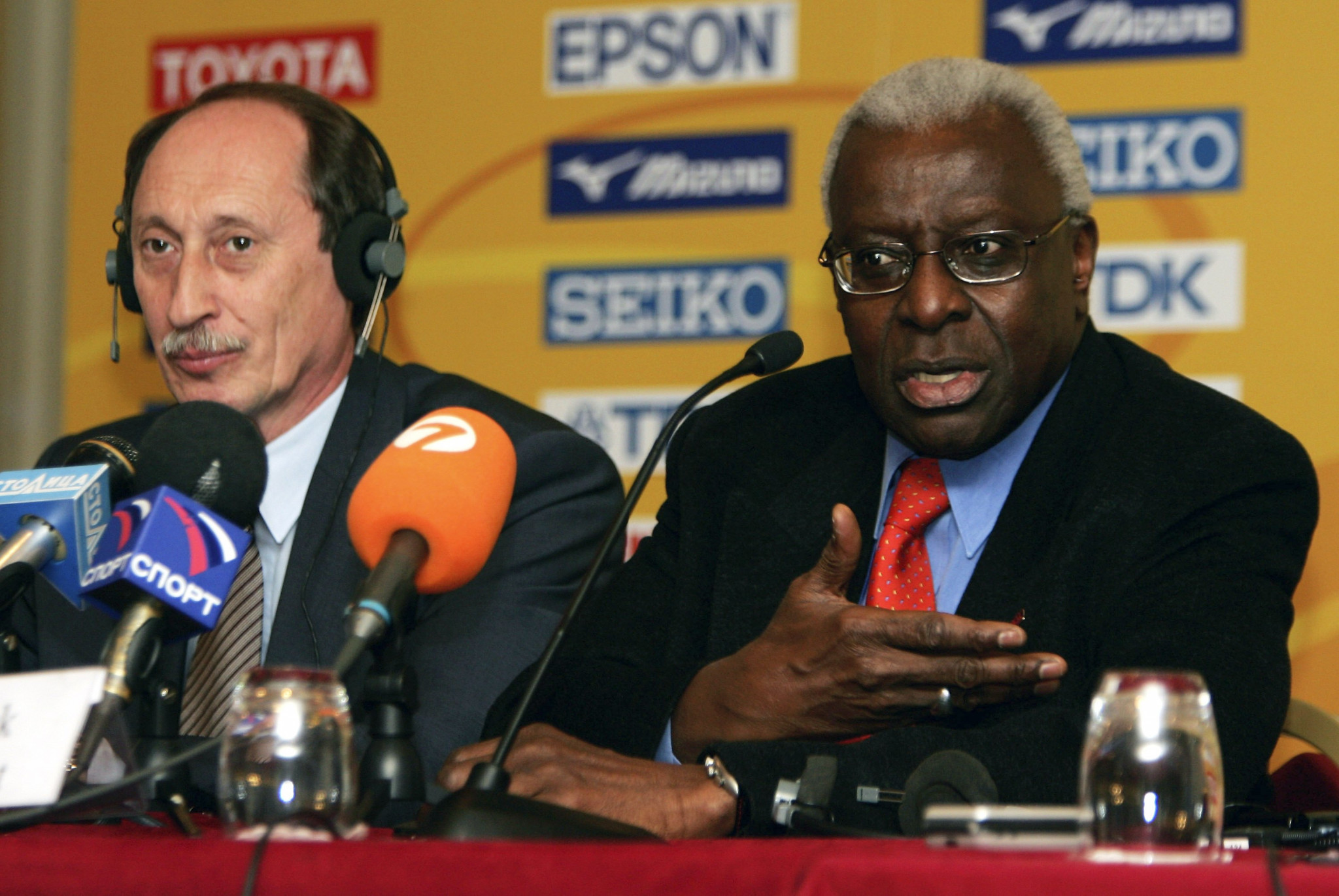 Valentin Balakhnichev, left, was treasurer of the IAAF under Lamine Diack, right - the Senegalese is already in custody in Paris and now French authorities have issued an arrest warrant for the Russian ©Getty Images
