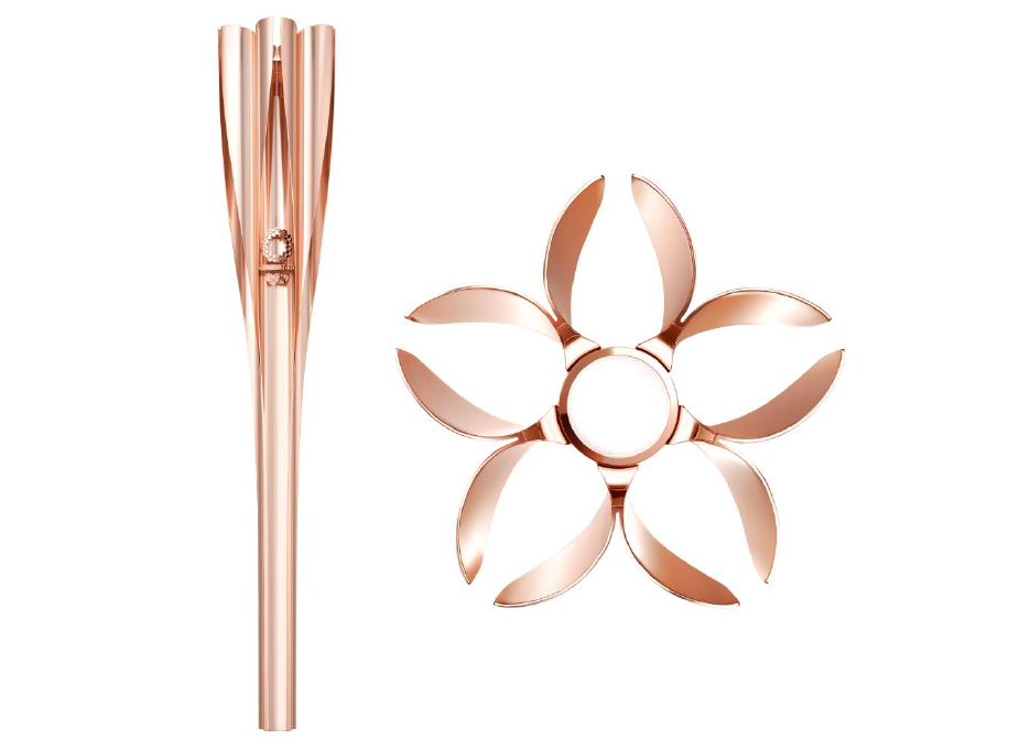 The Tokyo 2020 Olympic Torch bears the motif of a cherry blossom, Japan's most familiar and best-loved flower ©Getty Images