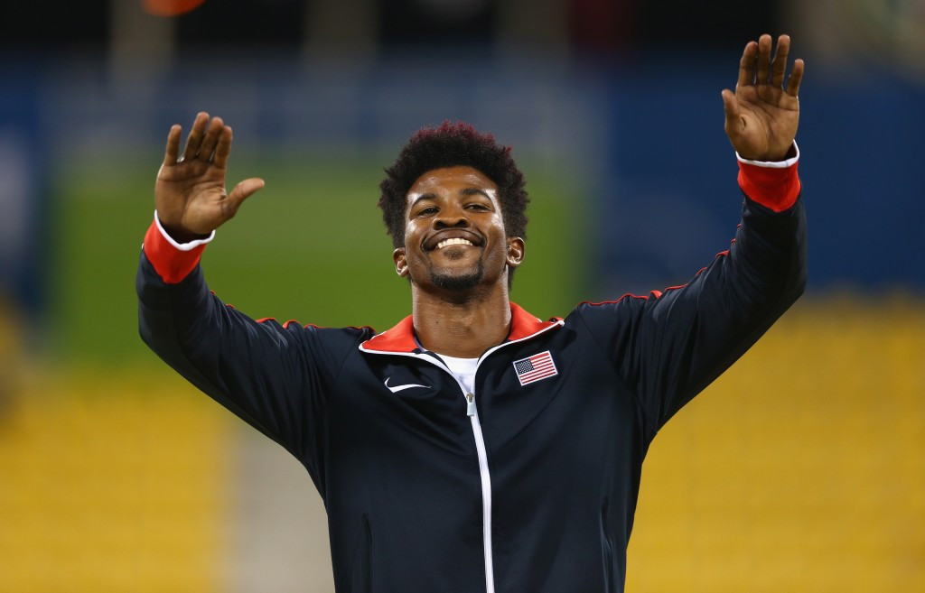 Richard Browne celebrates his 200m win in Doha ©Getty Images