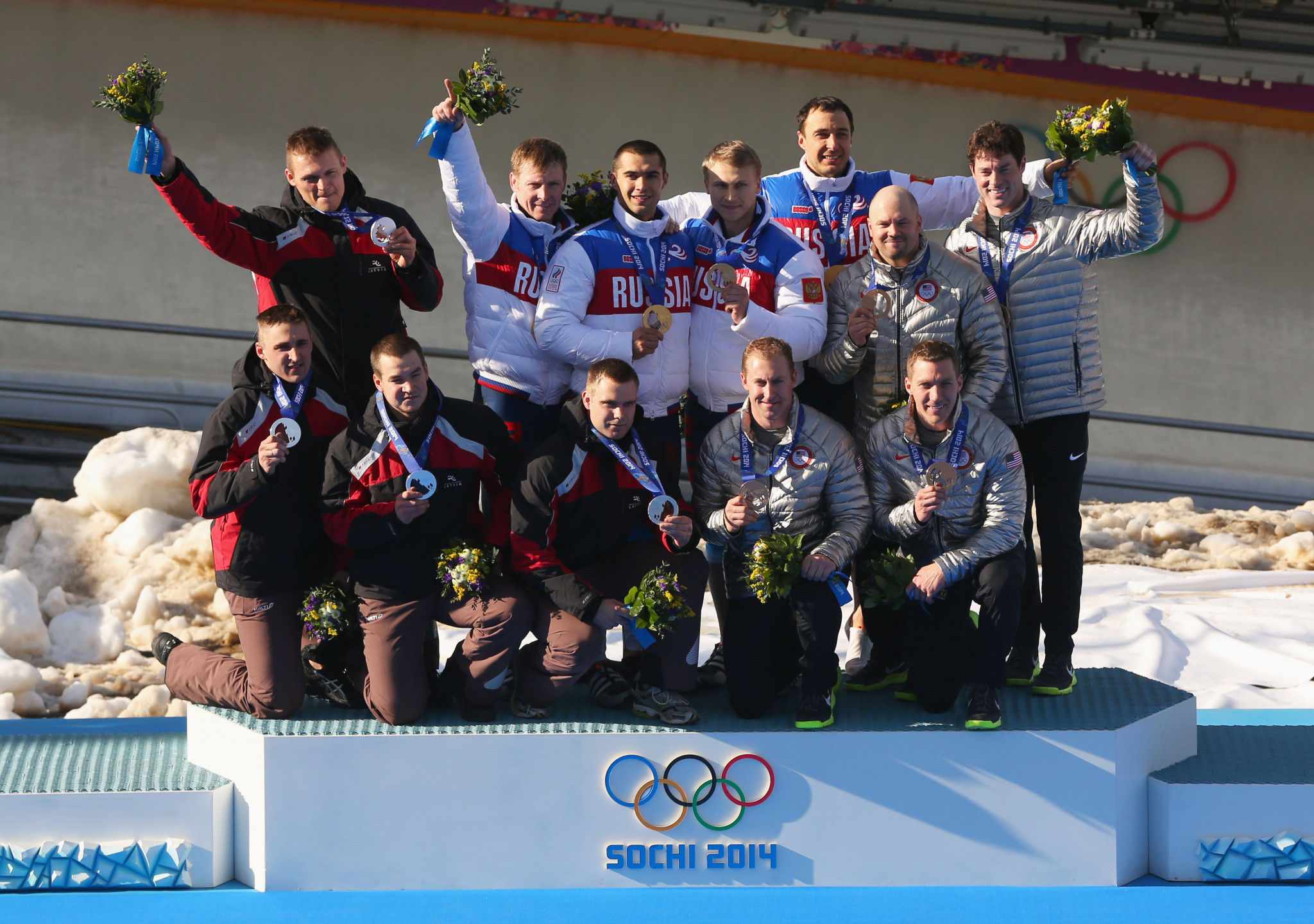 Latvia, left, have been promoted to the Olympic gold medals in the four-man bob at Sochi 2014 and the United States, right, to silver after the original winners Russia were disqualified ©Getty Images