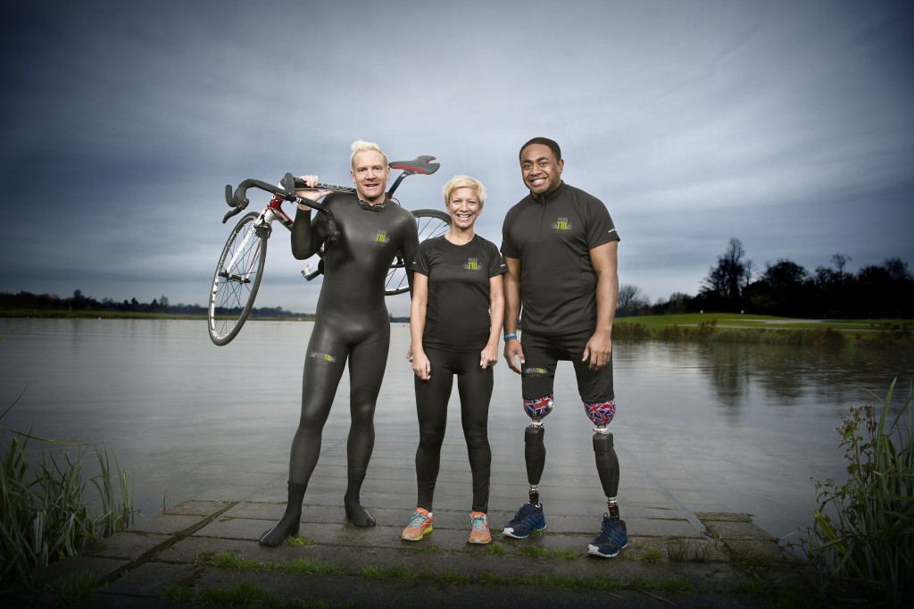 Sophia Warner, pictured centre with Para Tri ambassadors Iwan Thomas and Lance Corporal Derek Derenalagi ©Para Tri