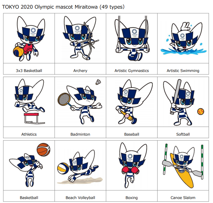 Tokyo 2020 has today unveiled images of the Olympic mascot Miraitowa, pictured, and Paralympic mascot Someity in a variety of poses ©Tokyo 2020