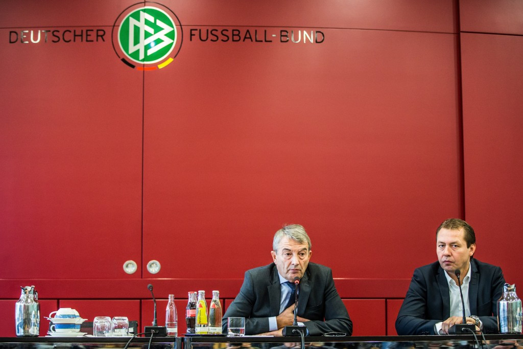 DFB President Wolfgang Niersbach (left) has denied the allegations that Germany's bid to host the 2006 FIFA World Cup involved illegal payments