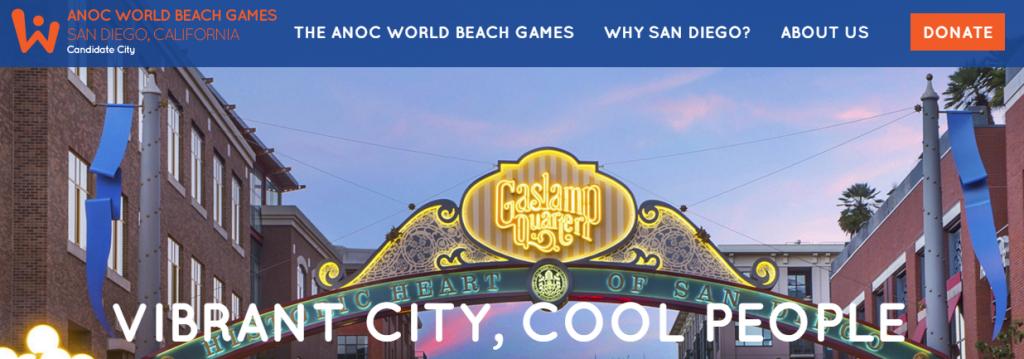 San Diego's website showcasing its bid for the 2017 ANOC World Beach Games ©San Diego 2017