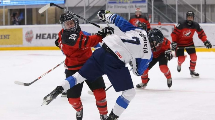 Canada beat Finland 5-3 on the opening day of the tournament in Sweden ©IIHF/Chris Tanouye