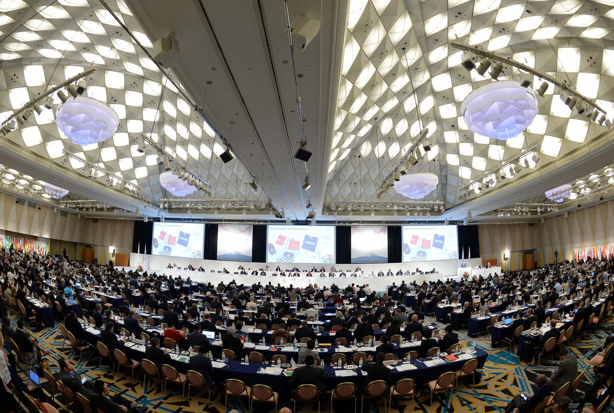 Both bidders presented at the 2018 ANOC General Assembly in Tokyo ©Getty Images