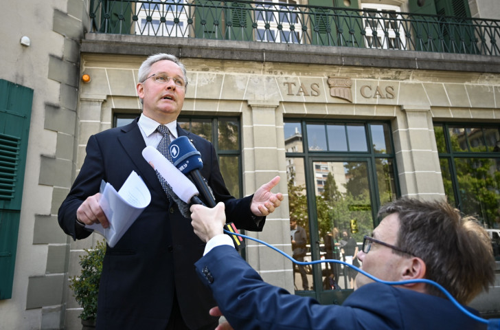 Court of Arbitration (CAS) Secretary General Matthieu Reeb speaks to journalists after pronouncing the verdict in double Olympic champion Caster Semenya's appeal against International Association of Athletics Federations (IAAF) testosterone rules ©Getty Images