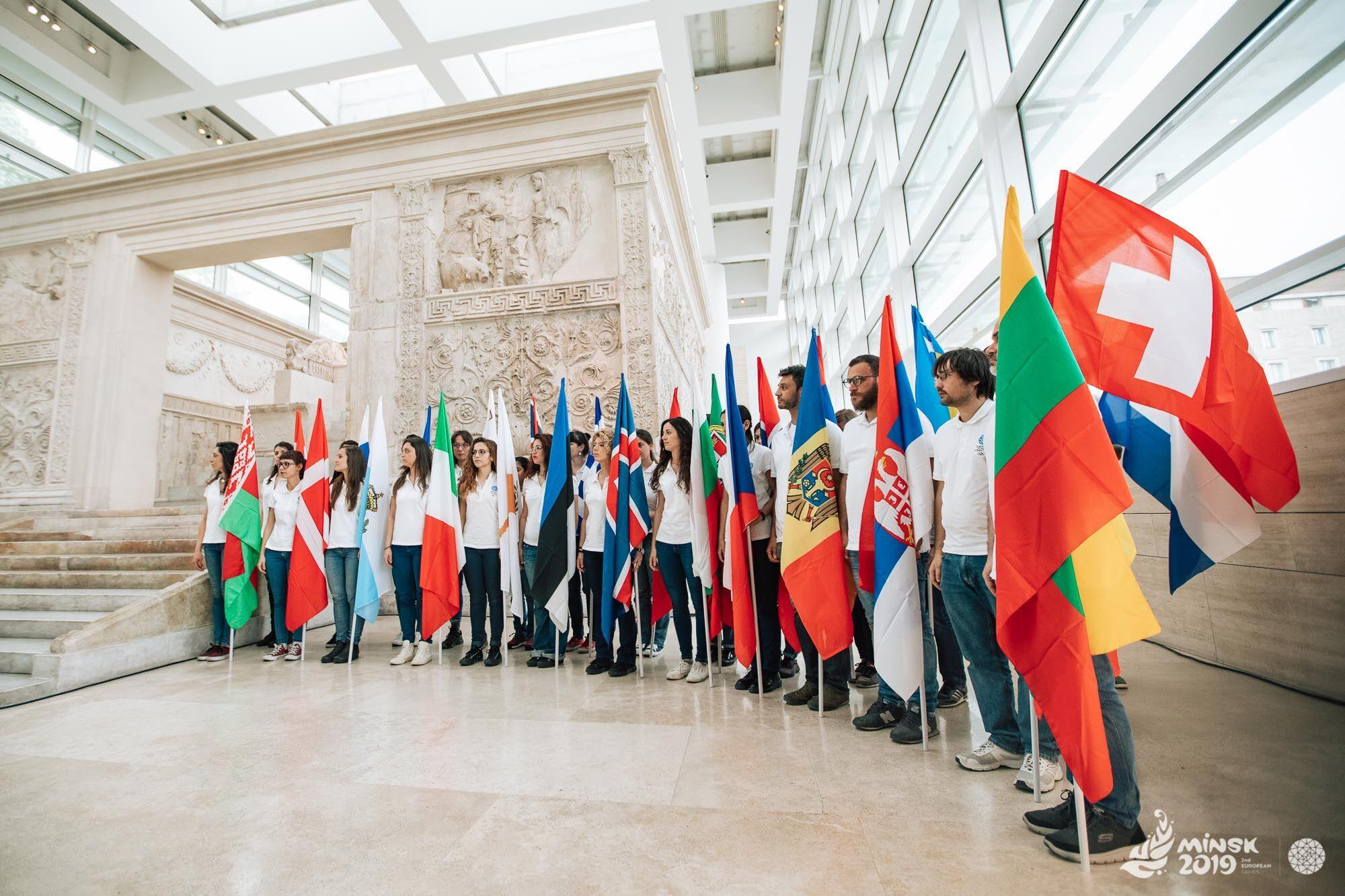 Flag bearers at Ara Pacis in Rome ©Minsk 2019