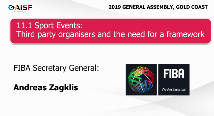 FIBA secretary general Andreas Zagklis believes a joint strategy from IFs is required ©GAISF