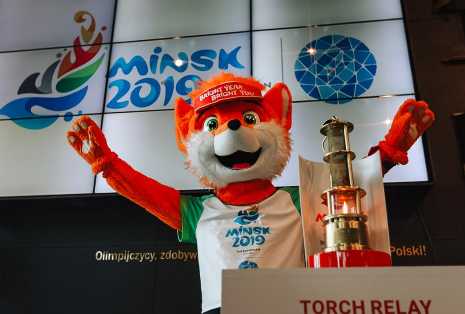 Mascot Lesik the baby fox looks after the European Games Flame ©Minsk 2019