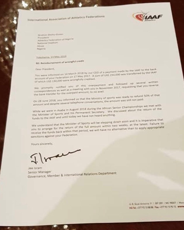 The International Association of Athletics Federations have written to the Athletics Federation of Nigeria warning them of severe consequences if they do not reimburse $134,000 mistakenly paid to them in 2017 ©Twitter