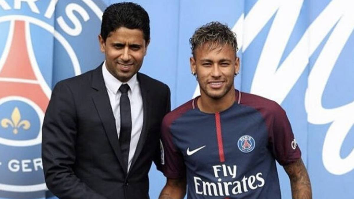 Nasser Al-Khelaïfi, left, President of BeIn Sports and Paris Saint-Germain, has also reportedly been questioned in connection with Doha being awarded the 2019 IAAF World Championships ©Getty Images