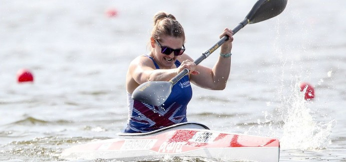 Great Britain's Charlotte Henshaw tightened her grip on the women's KL2 race class with another stirring win at the ICF Paracanoe World Cup in Poznań today ©ICF