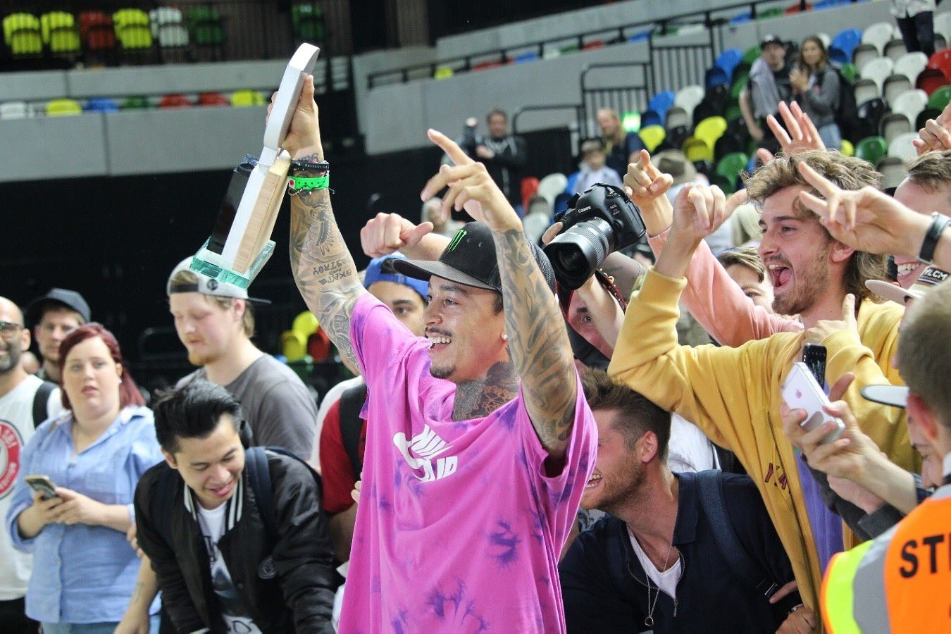 World champion Nyjah Huston produced a superb display to claim gold in the men's final ©Twitter