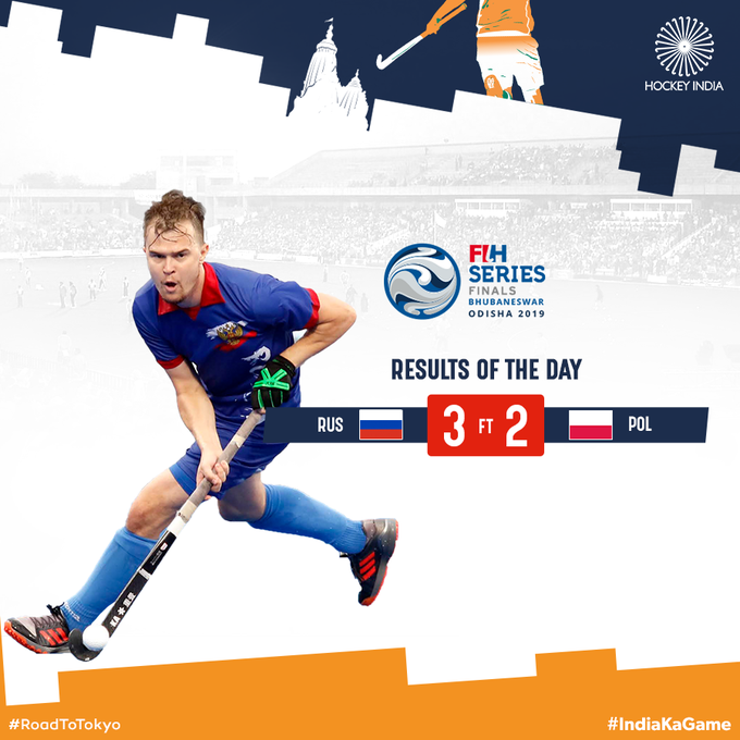 Russia scored twice late on to beat Poland and secure a place in at least the crossover round ©Hockey India/Twitter