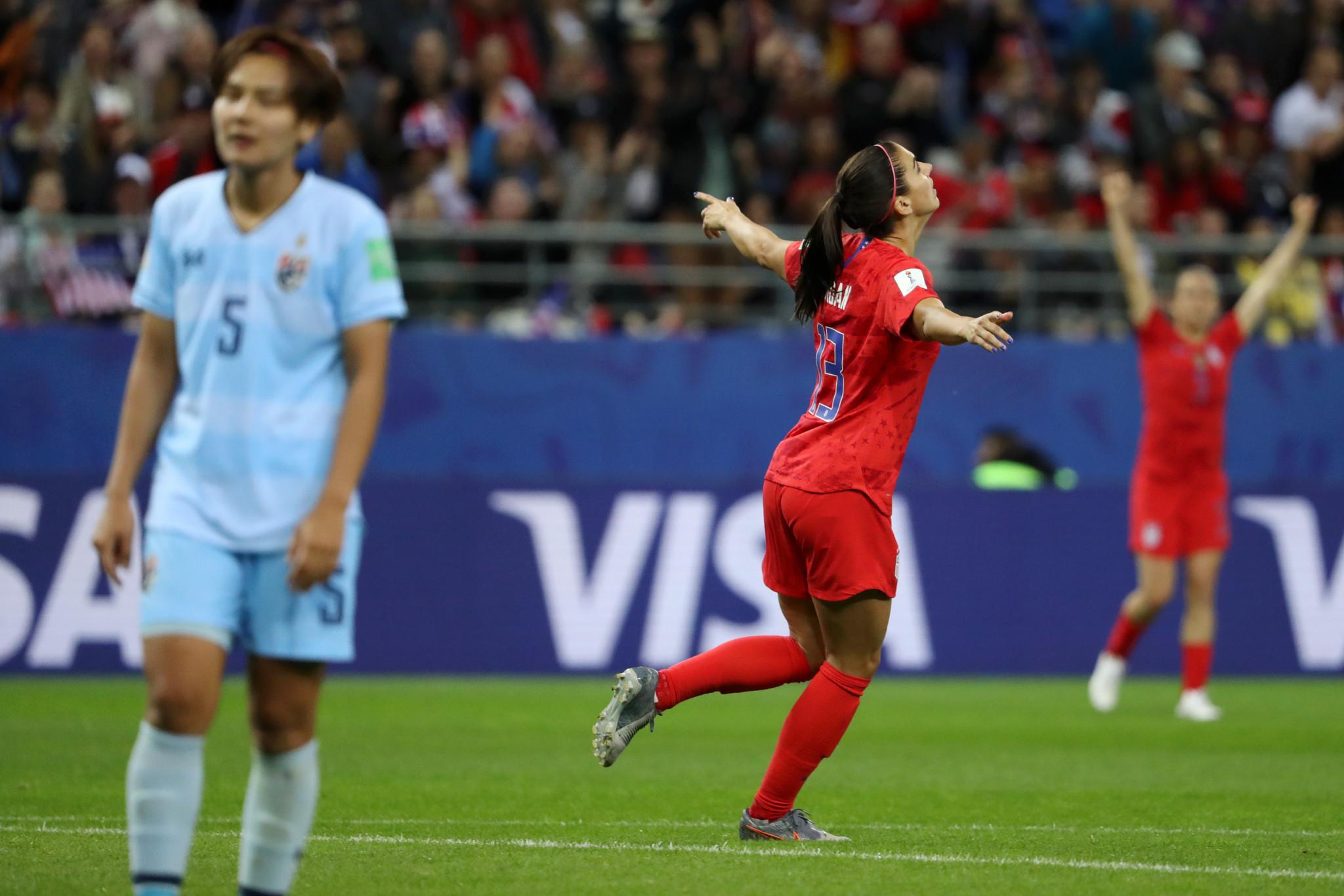 Alex Morgan scored five goals in America's 13-0 annihilation of Thailand ©Getty Images