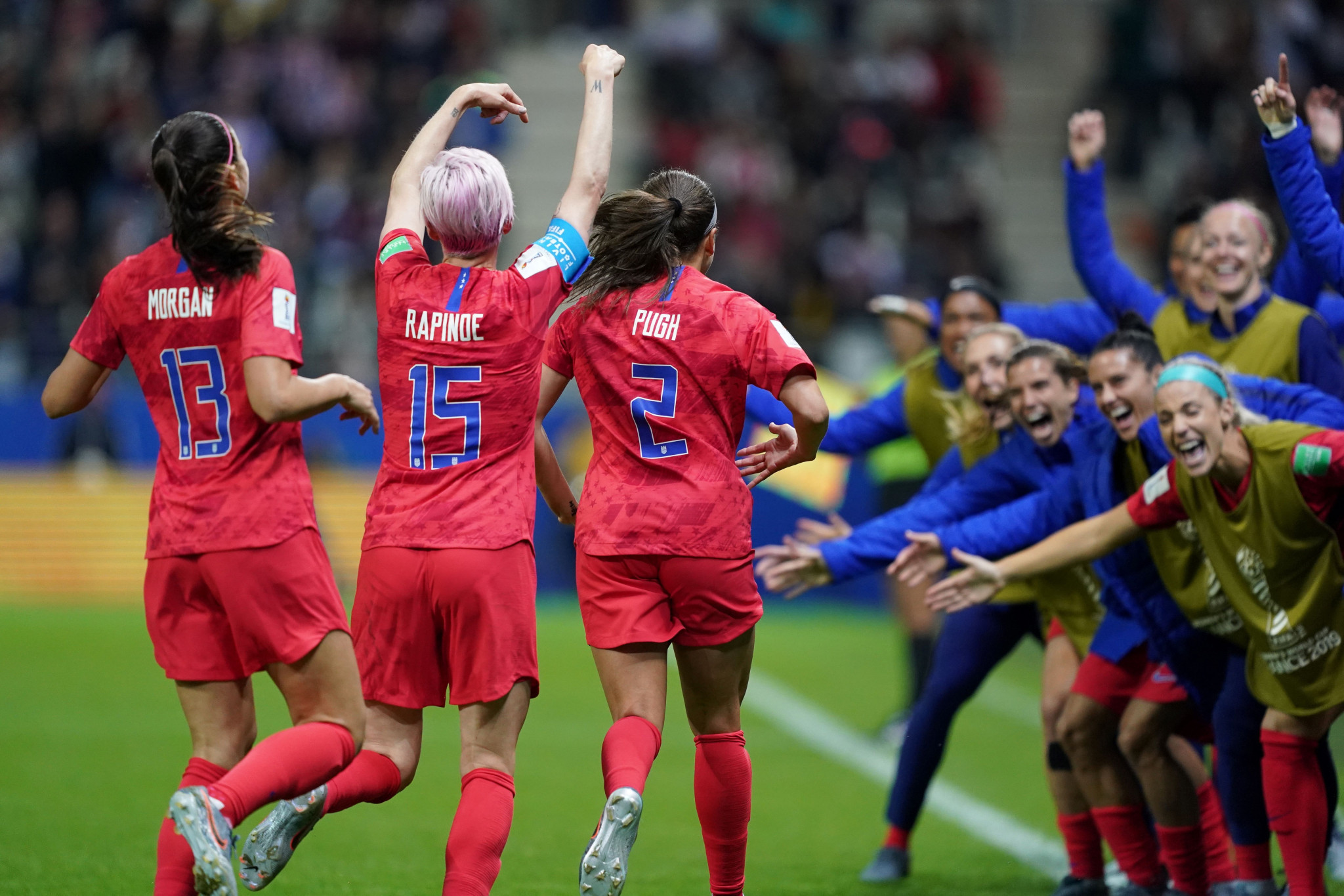 The United States celebrate crushing Thailand 13-0 at the FIFA Women's World Cup ©Getty Images