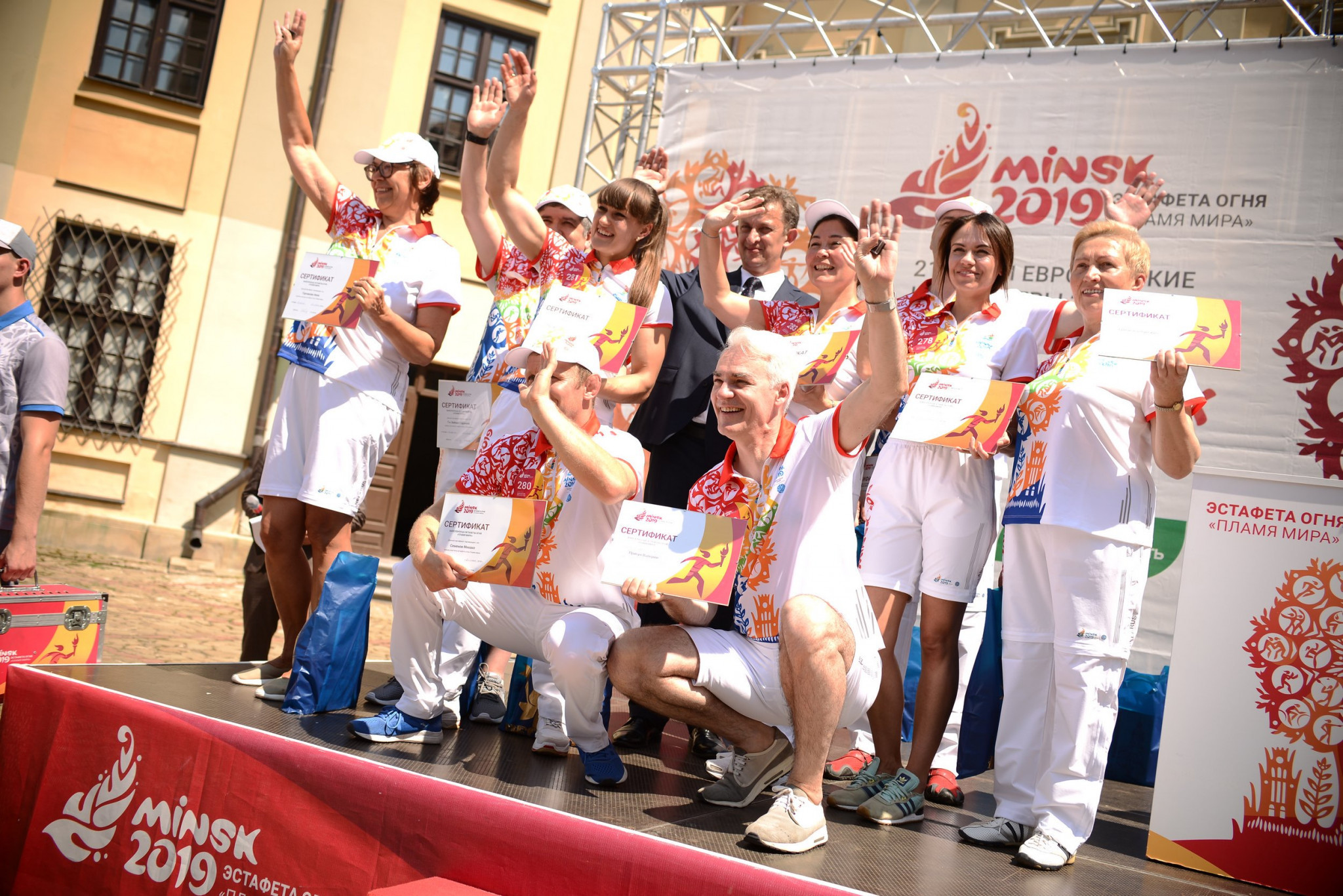Former Arsenal and Barcelona midfielder Hleb carries Minsk 2019 Torch
