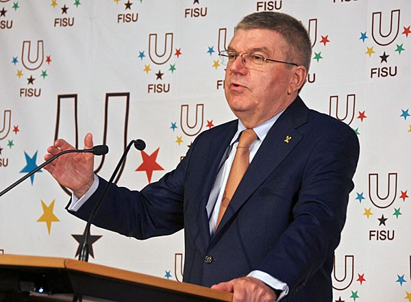 OC President Thomas Bach gave a welcome address at the FISU General Assembly in Lausanne