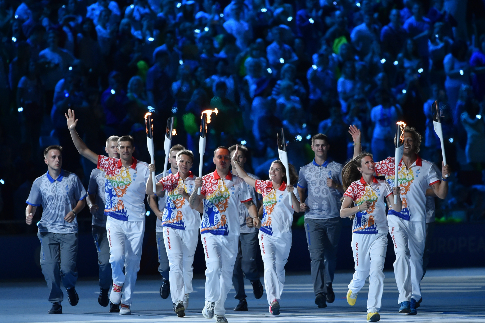 Belarus' Olympic stars hold Torches during the Opening Ceremony of the European Games ©Getty Images