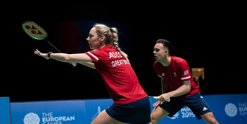 Chris and Gaby Adcock qualified for the final of the badminton mixed doubles where they will take on British team-mates Marcus Ellis and Lauren Smith in a match pitting the two top seeds against each other ©Getty Images