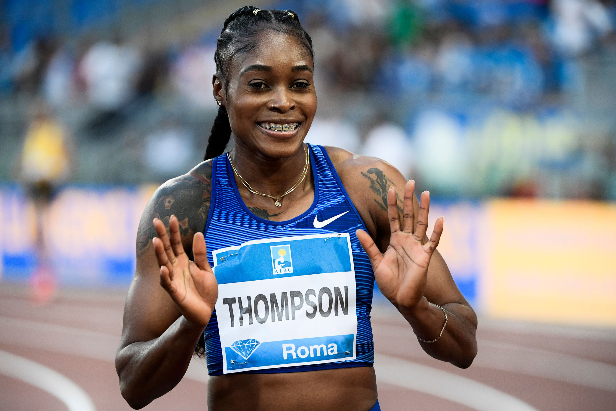 Reigning Olympic champion Elaine Thompson has been named in the Jamaican team ©Getty Images