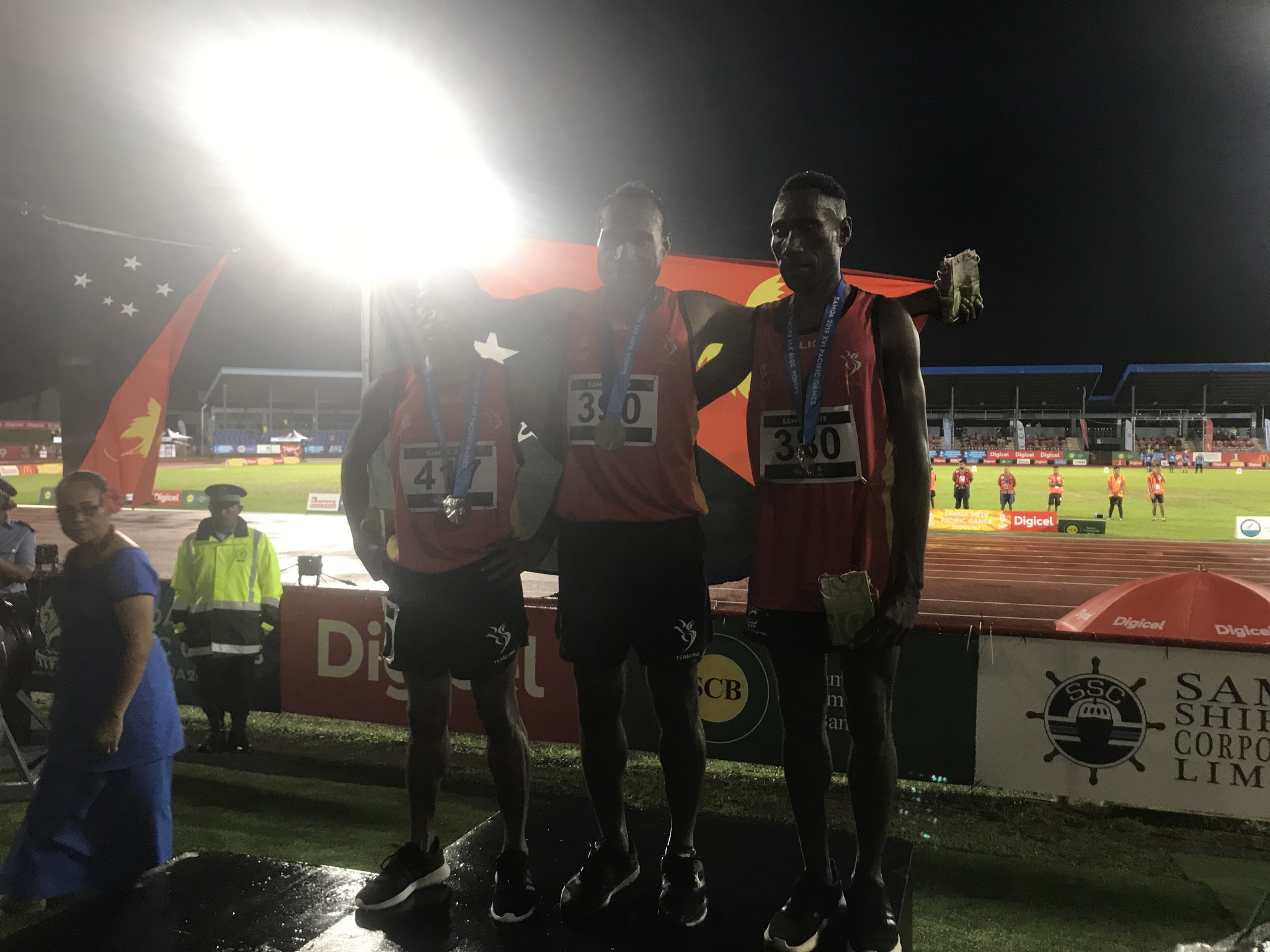 Papua New Guinea completed the first podium clean sweep of the Games in the men's 3,000 metres steeplechase ©ITG