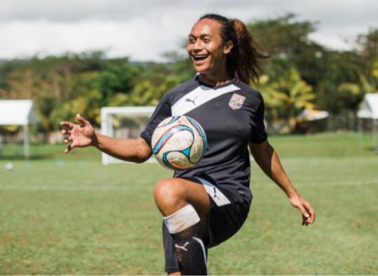Jaiyah Saelua has been competing for American Samoa's men's football team at the Games ©Samoa 2019