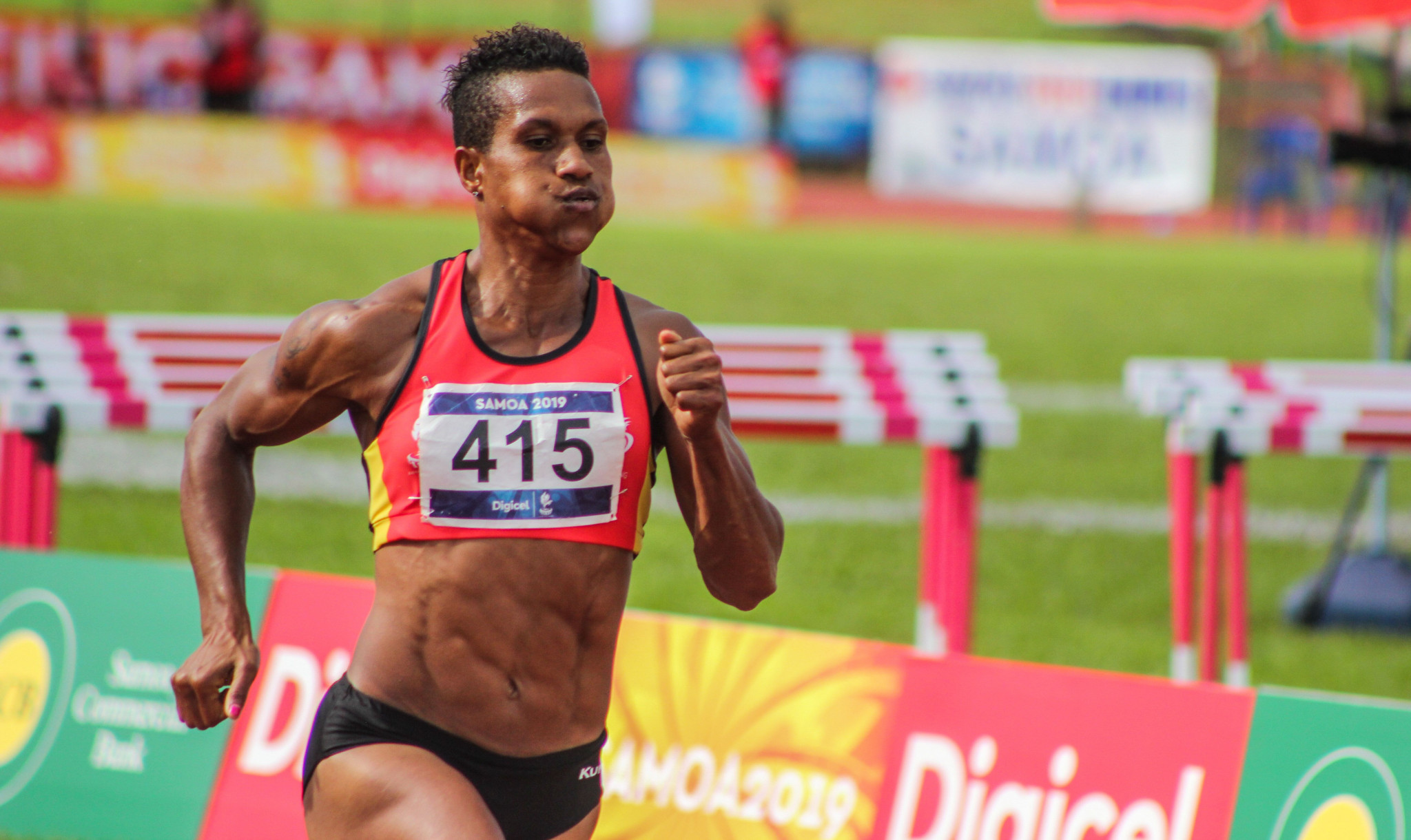 Papua New Guinea's Toea Wisil has written her name indelibly into Pacific Games history after she completed the triple-triple in the women's sprint events ©Samoa 2019