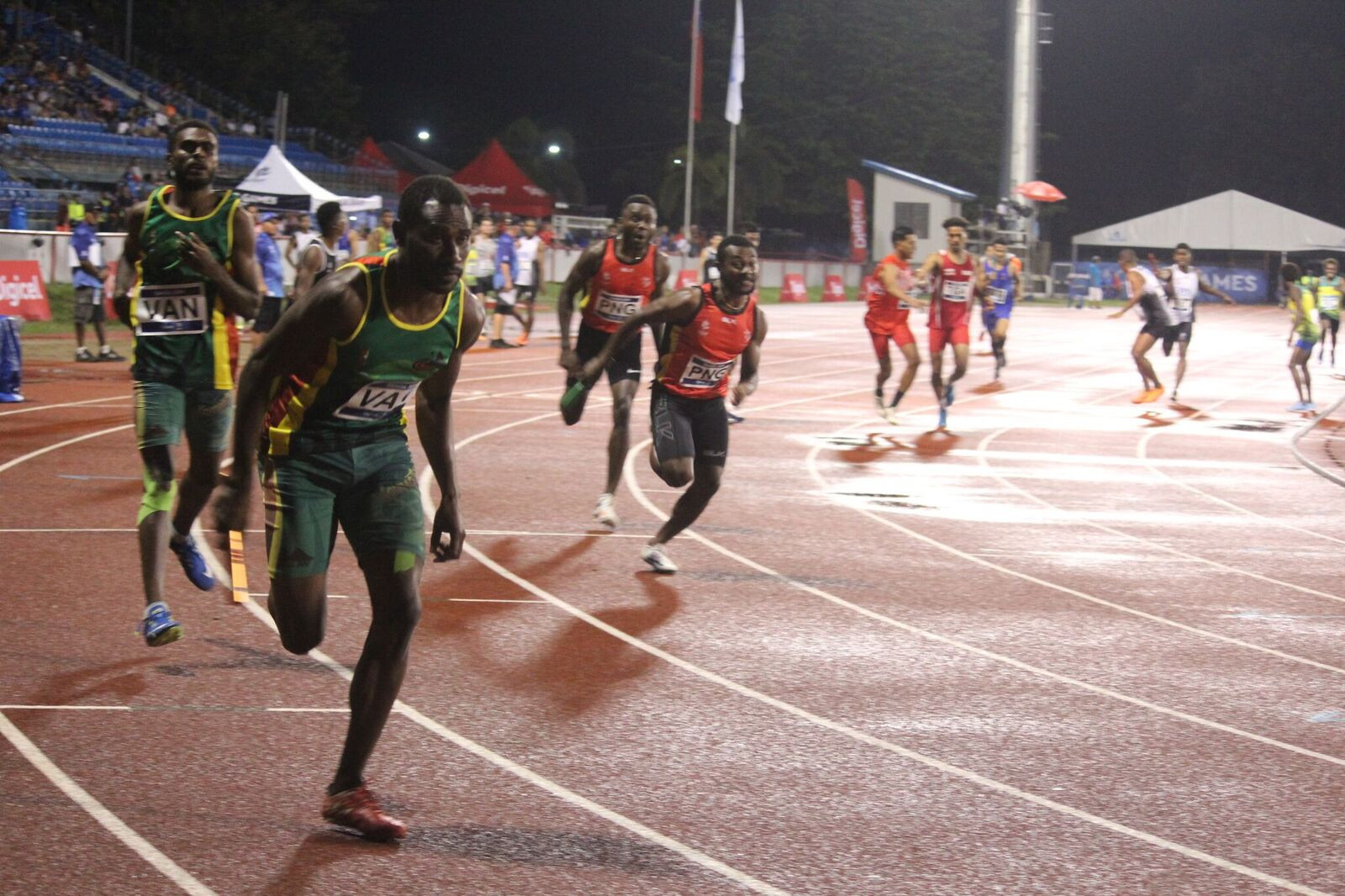 Papua New Guinea completed a superb day at the athletics by winning the men's 4x400m ©Samoa 2019
