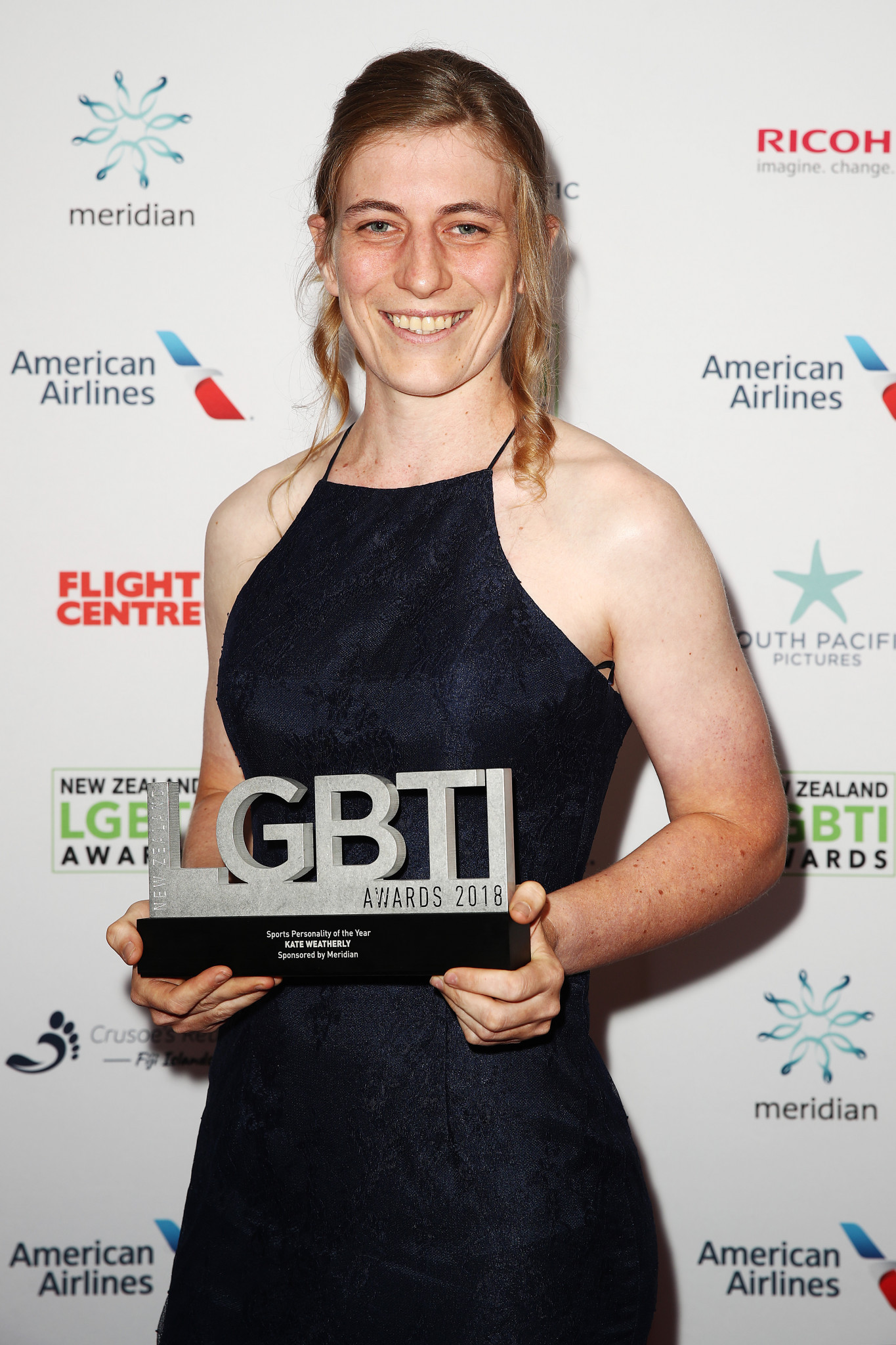 Transgender mountain biker Kate Weatherly, pictured with her award for Sports Personality at the New Zealand LGBTI Awards 2018 ©Getty Images