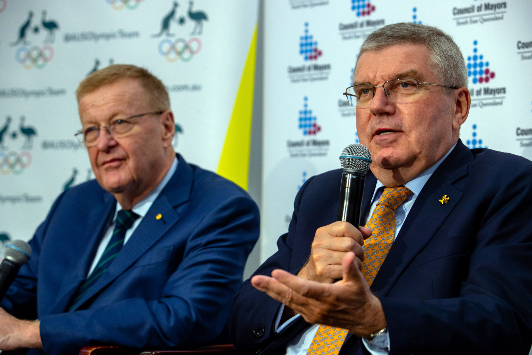 John Coates, left, claimed the meeting reaffirmed the commitment from all levels of Government and the AOC for a 2032 Olympic and Paralympic Games bid ahead of a first meeting as a group with IOC President Thomas Bach, right, in Lausanne ©Getty Images